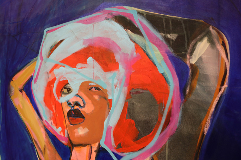 ein Teil einer Frau in bunten Farben auf einer Leinwand